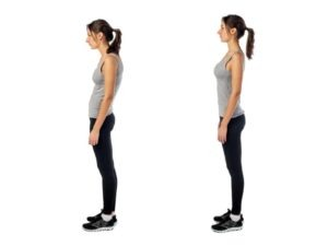 woman demonstrating good vs bad posture