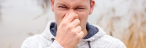 Man with mouth odors